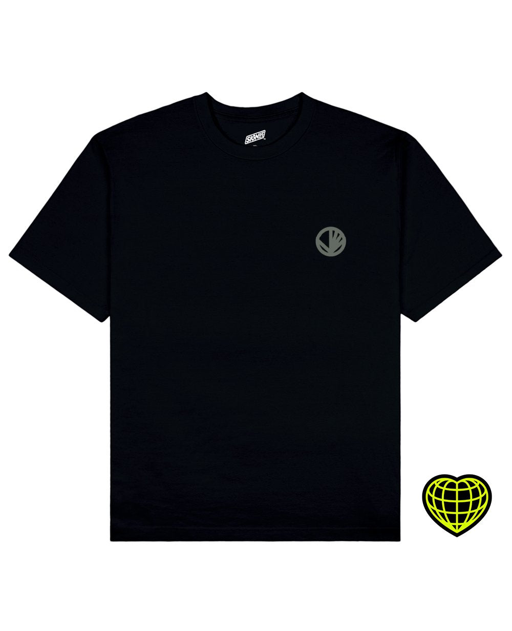 Circle with beams Print T-shirt in Black - T-shirts - Signs of Signals - BRANMA