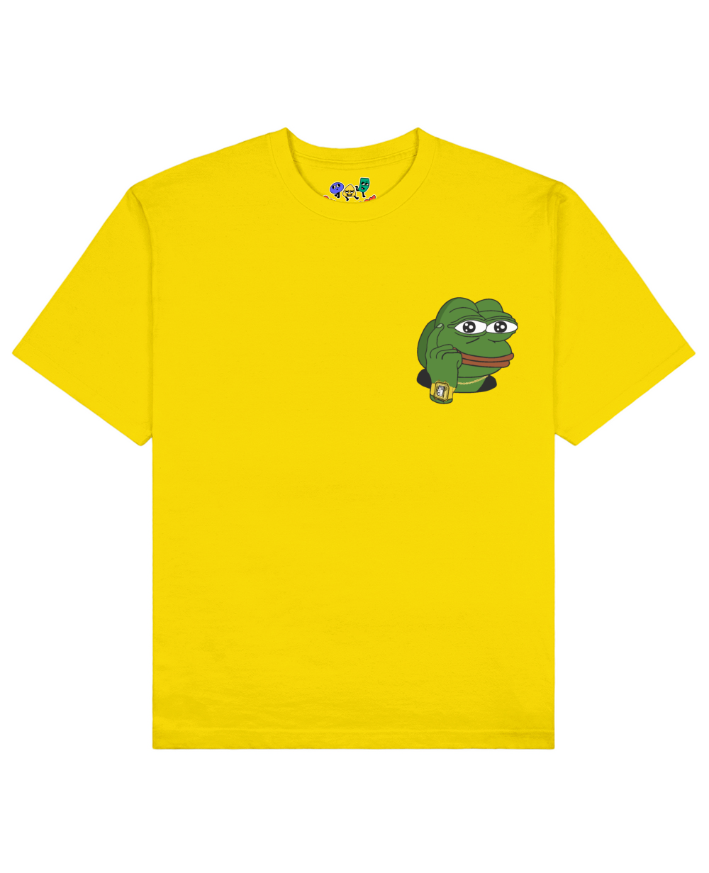 Smart Guy Memes Pepe The Frog Print T-Shirt in Yellow