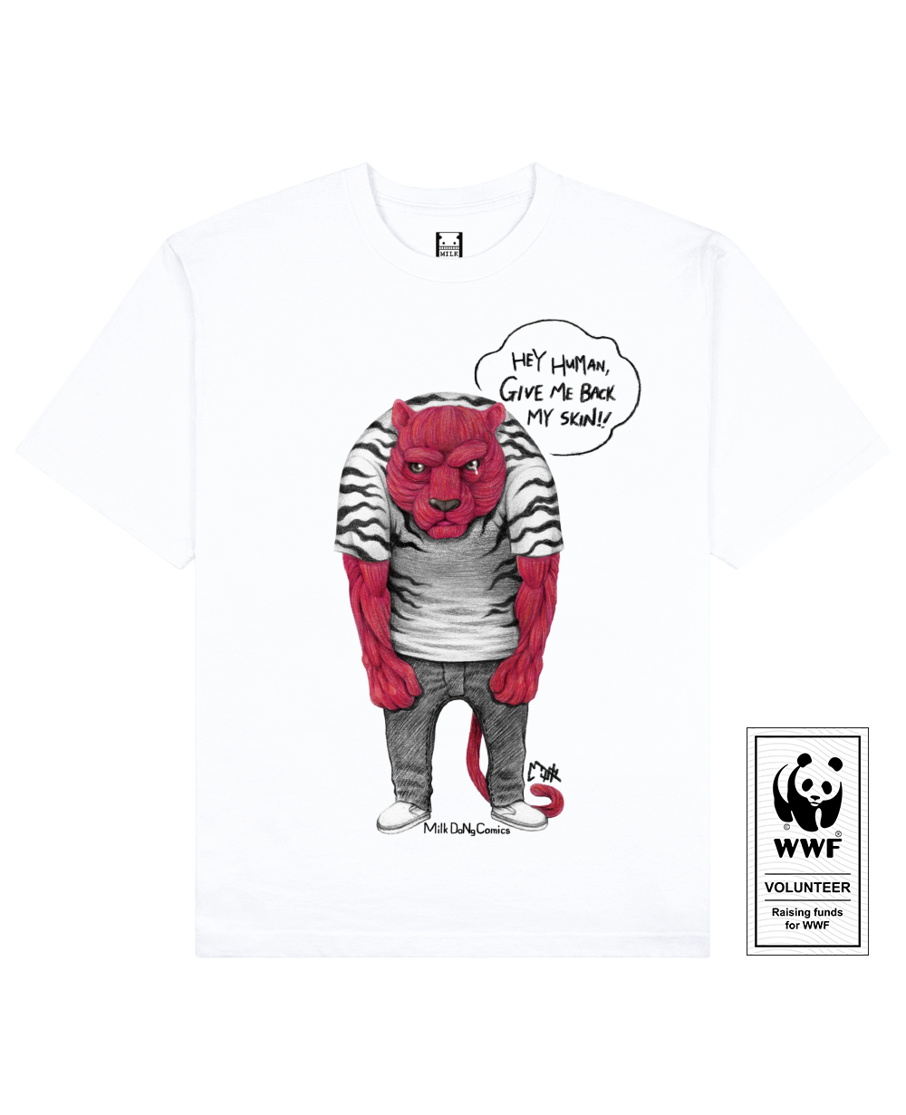 SKINLESS TIGER Printed T-Shirt in White - T-Shirts - Milk DoNg Comics - BRANMA