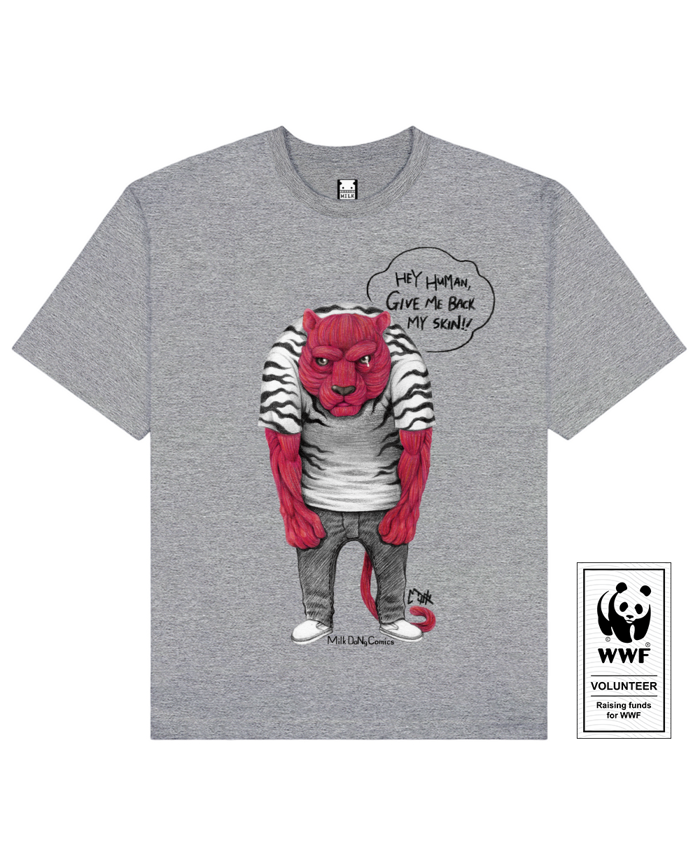 SKINLESS TIGER Printed T-Shirt in Gray - T-Shirts - Milk DoNg Comics - BRANMA