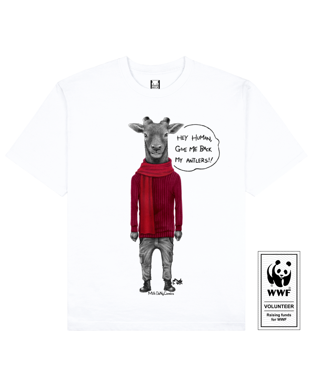 ANTLERLESS DEER Printed T-Shirt in White - T-Shirts - Milk DoNg Comics - BRANMA