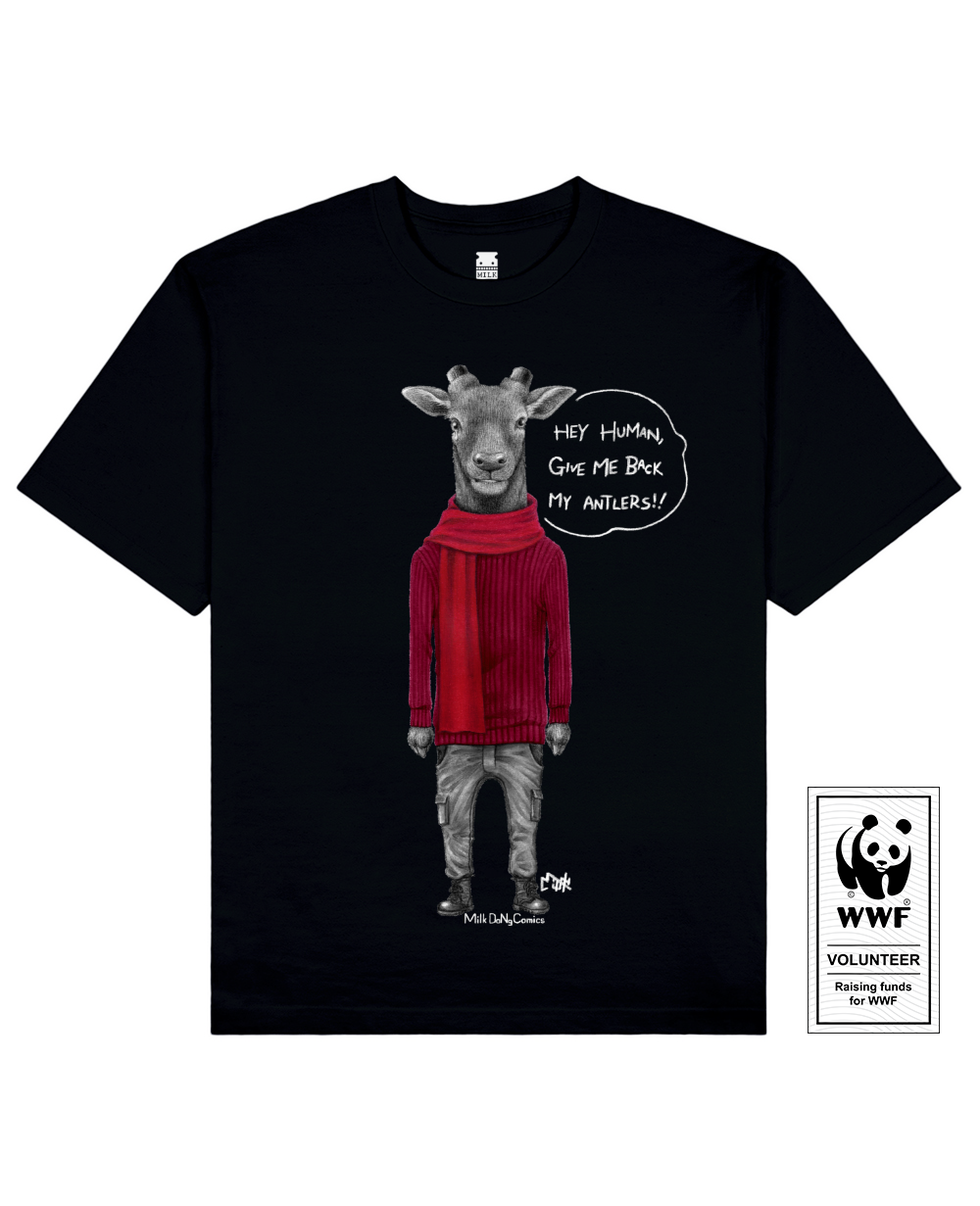 ANTLERLESS DEER Printed T-Shirt in Black - T-Shirts - Milk DoNg Comics - BRANMA