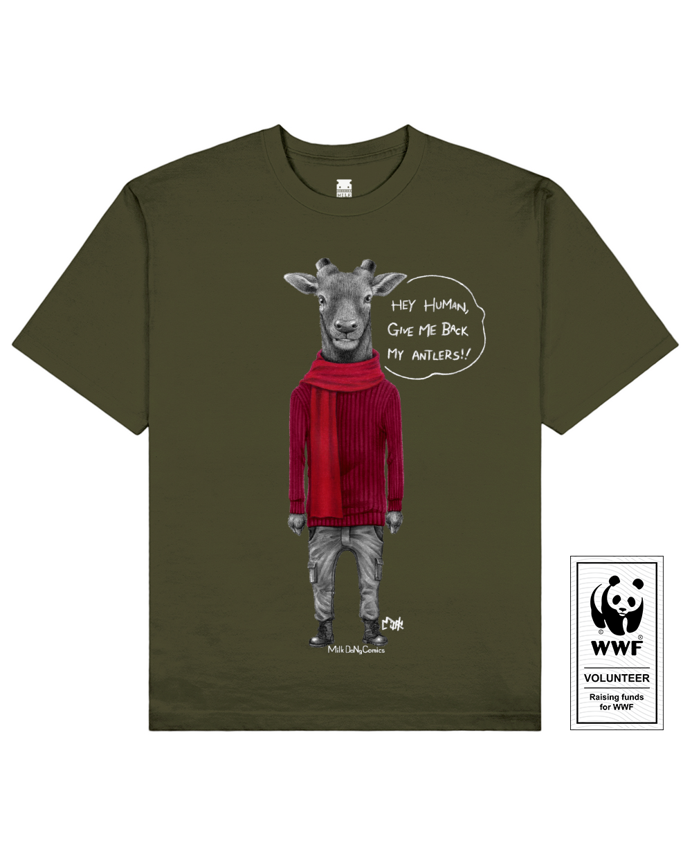 ANTLERLESS DEER Printed T-Shirt in Khaki - T-Shirts - Milk DoNg Comics - BRANMA