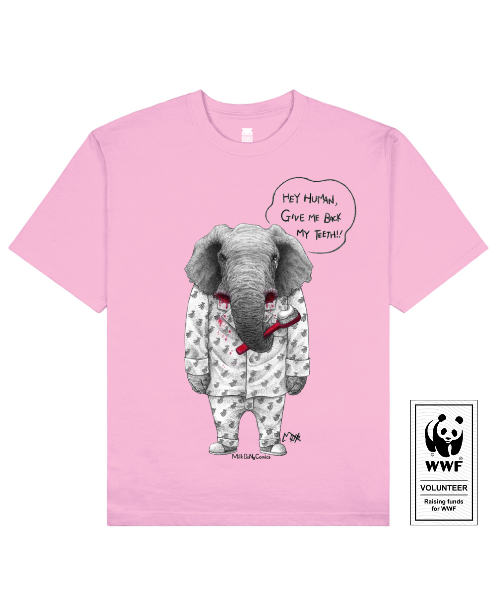 TUSKLESS ELEPHANT Printed T-Shirt in Pink - T-Shirts - Milk DoNg Comics - BRANMA