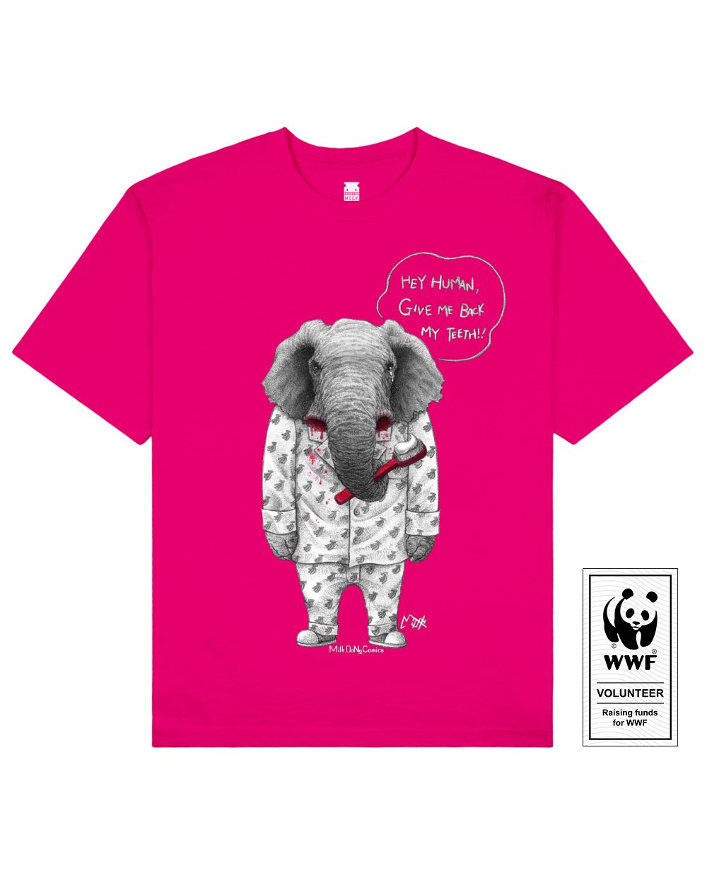 TUSKLESS ELEPHANT Printed T-Shirt in Fresh Pink - T-Shirts - Milk DoNg Comics - BRANMA