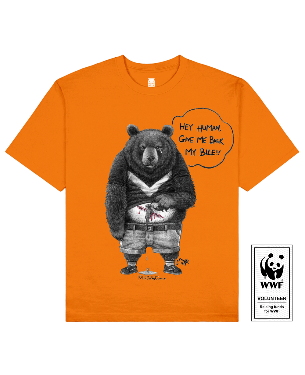 BILELESS BEAR Printed T-Shirt in Orange - T-Shirts - Milk DoNg Comics - BRANMA
