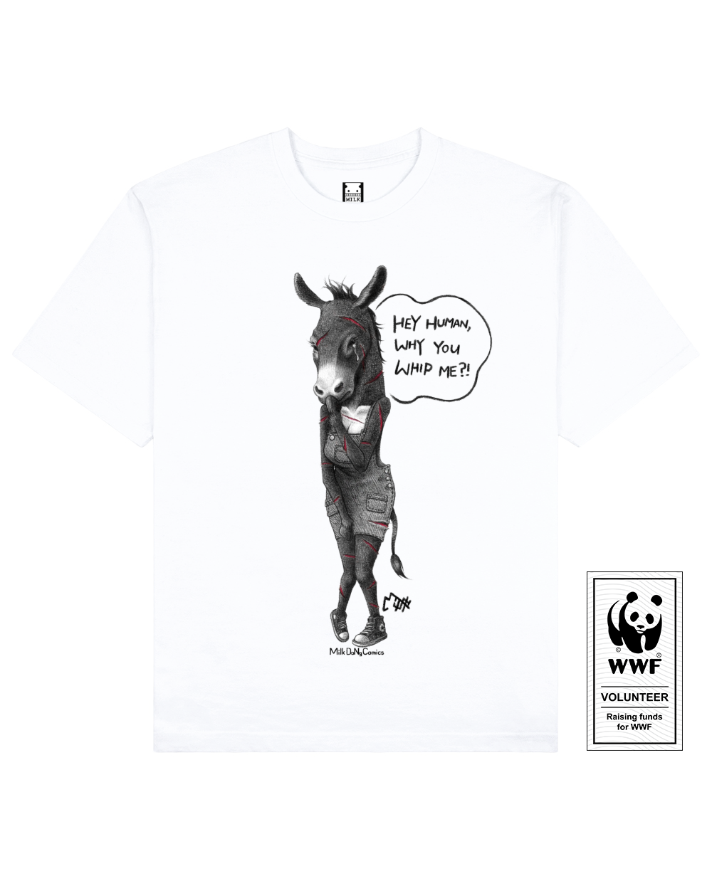 EJIAO DONKEY Printed T-Shirt in White - T-Shirts - Milk DoNg Comics - BRANMA