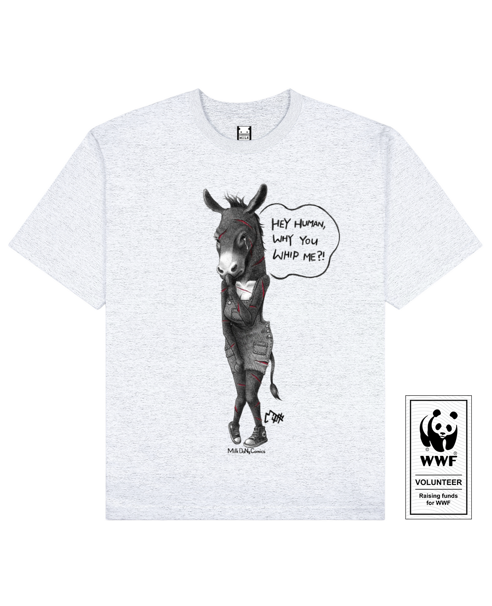 EJIAO DONKEY Printed T-Shirt in Light Gray - T-Shirts - Milk DoNg Comics - BRANMA