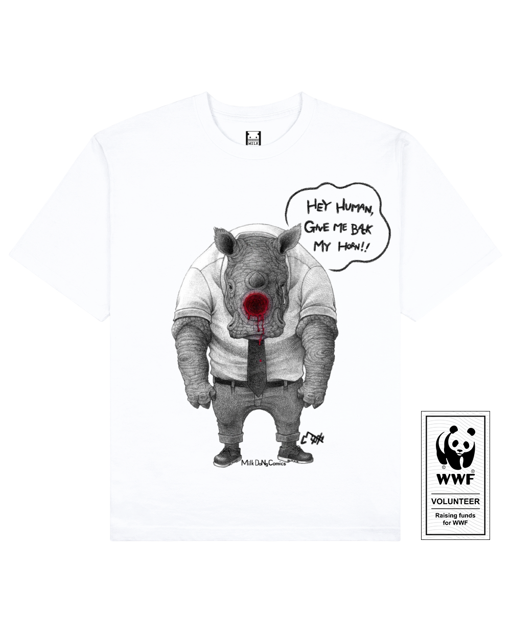 HORNLESS RHINO Printed T-Shirt in White - T-Shirts - Milk DoNg Comics - BRANMA