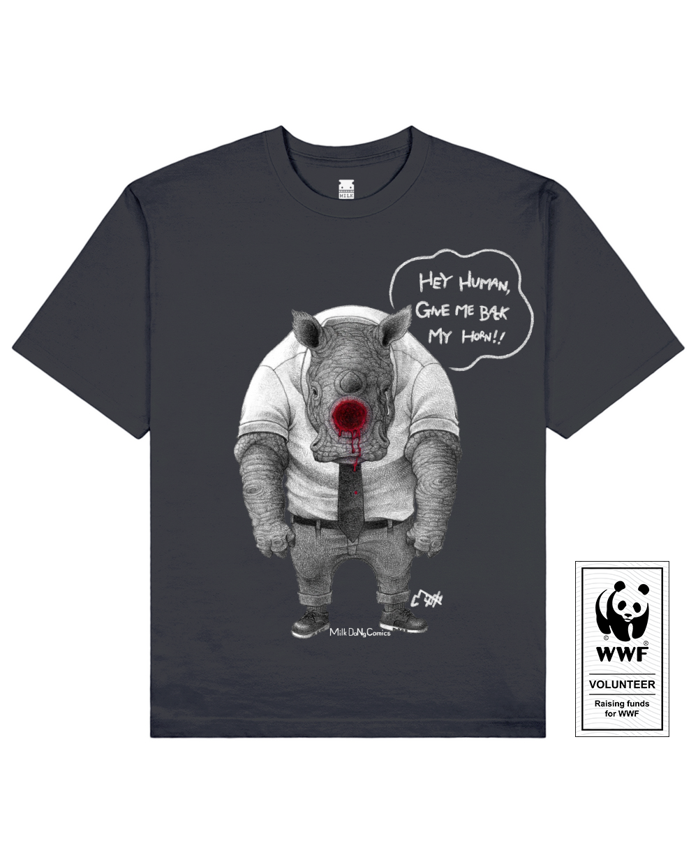 HORNLESS RHINO Printed T-Shirt in Deep Gray - T-Shirts - Milk DoNg Comics - BRANMA