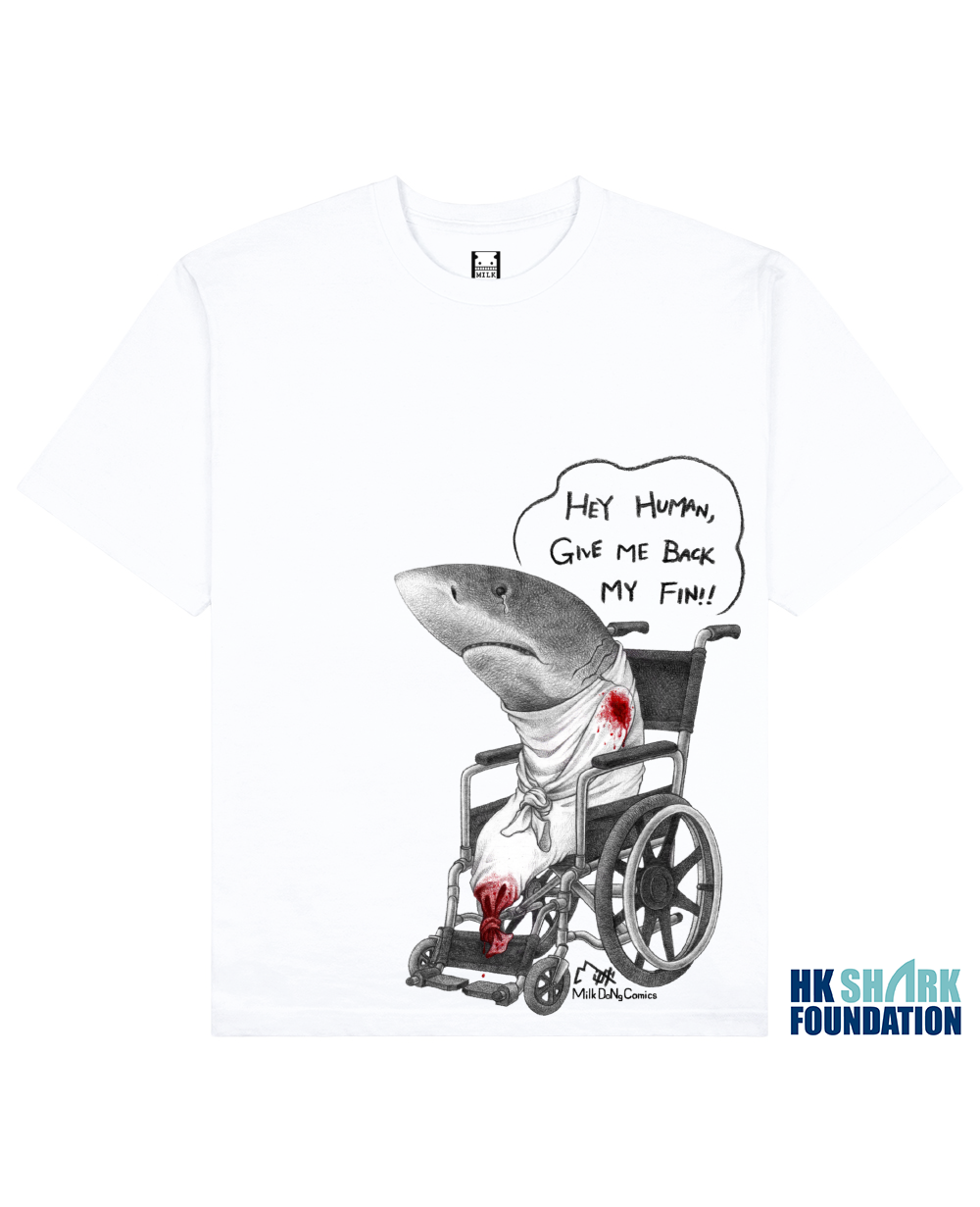 FINLESS SHARK Printed T-Shirt in White - T-Shirts - Milk DoNg Comics - BRANMA