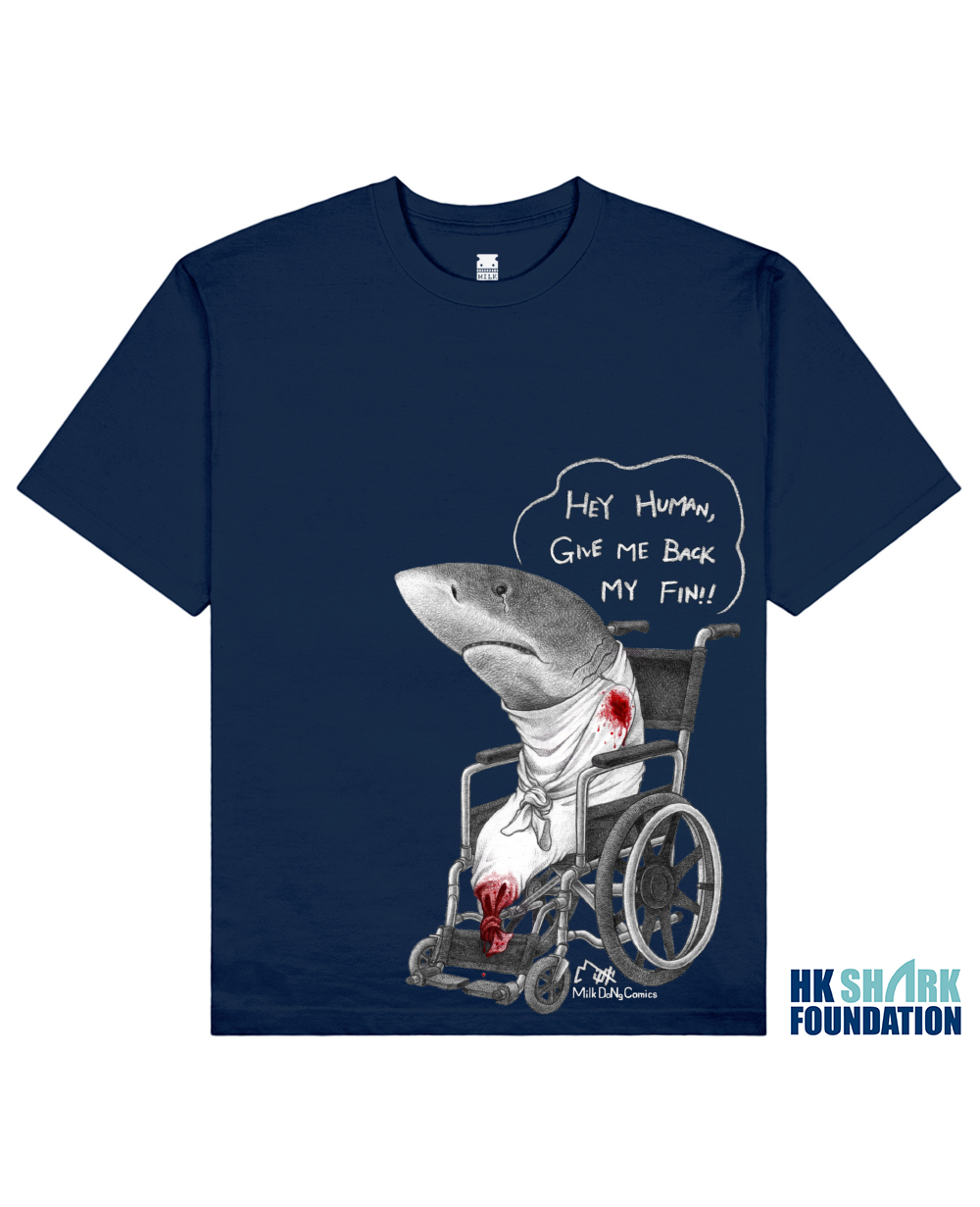 FINLESS SHARK Printed T-Shirt in Blue - T-Shirts - Milk DoNg Comics - BRANMA