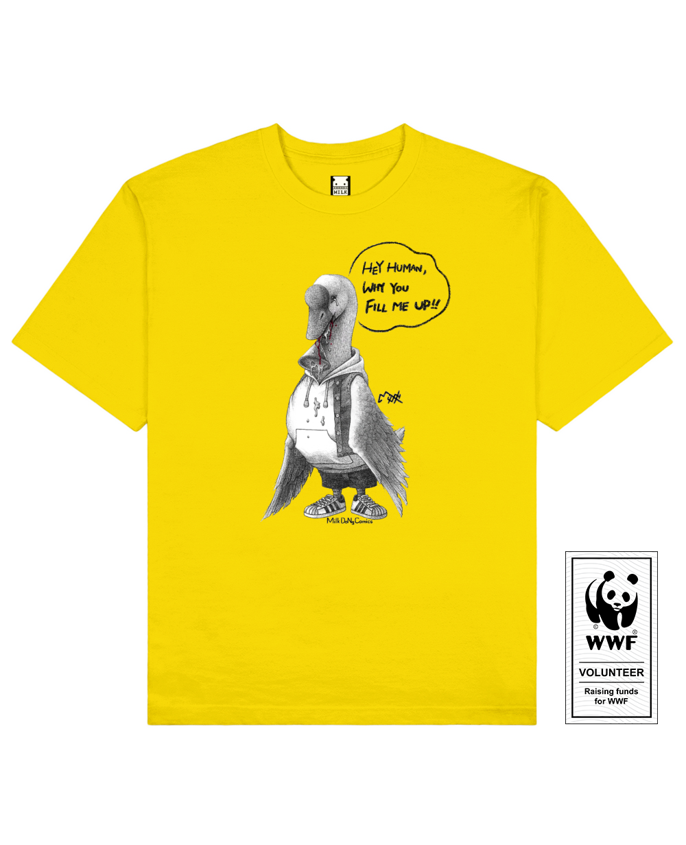 FATTYLIVER GOOSE Printed T-Shirt in Yellow - T-Shirts - Milk DoNg Comics - BRANMA