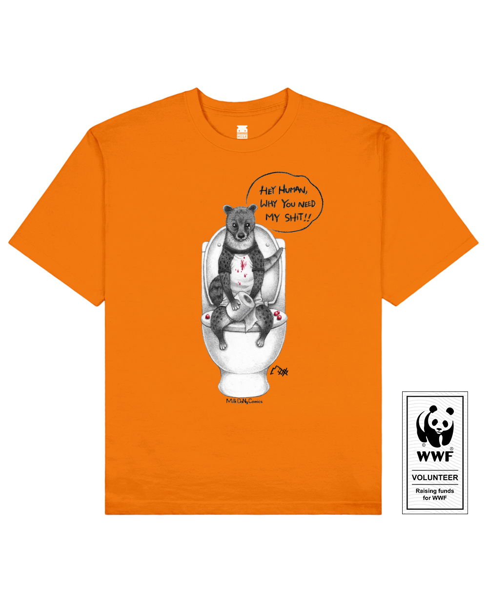 COFFEE CIVET Printed T-Shirt in Orange - T-Shirts - Milk DoNg Comics - BRANMA