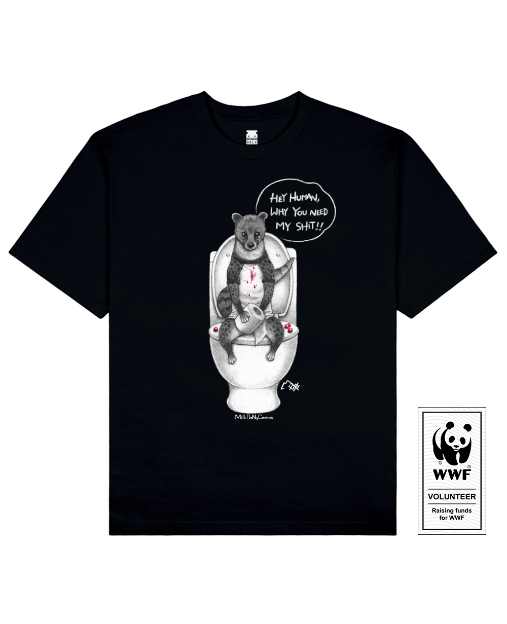COFFEE CIVET Printed T-Shirt in Black - T-Shirts - Milk DoNg Comics - BRANMA