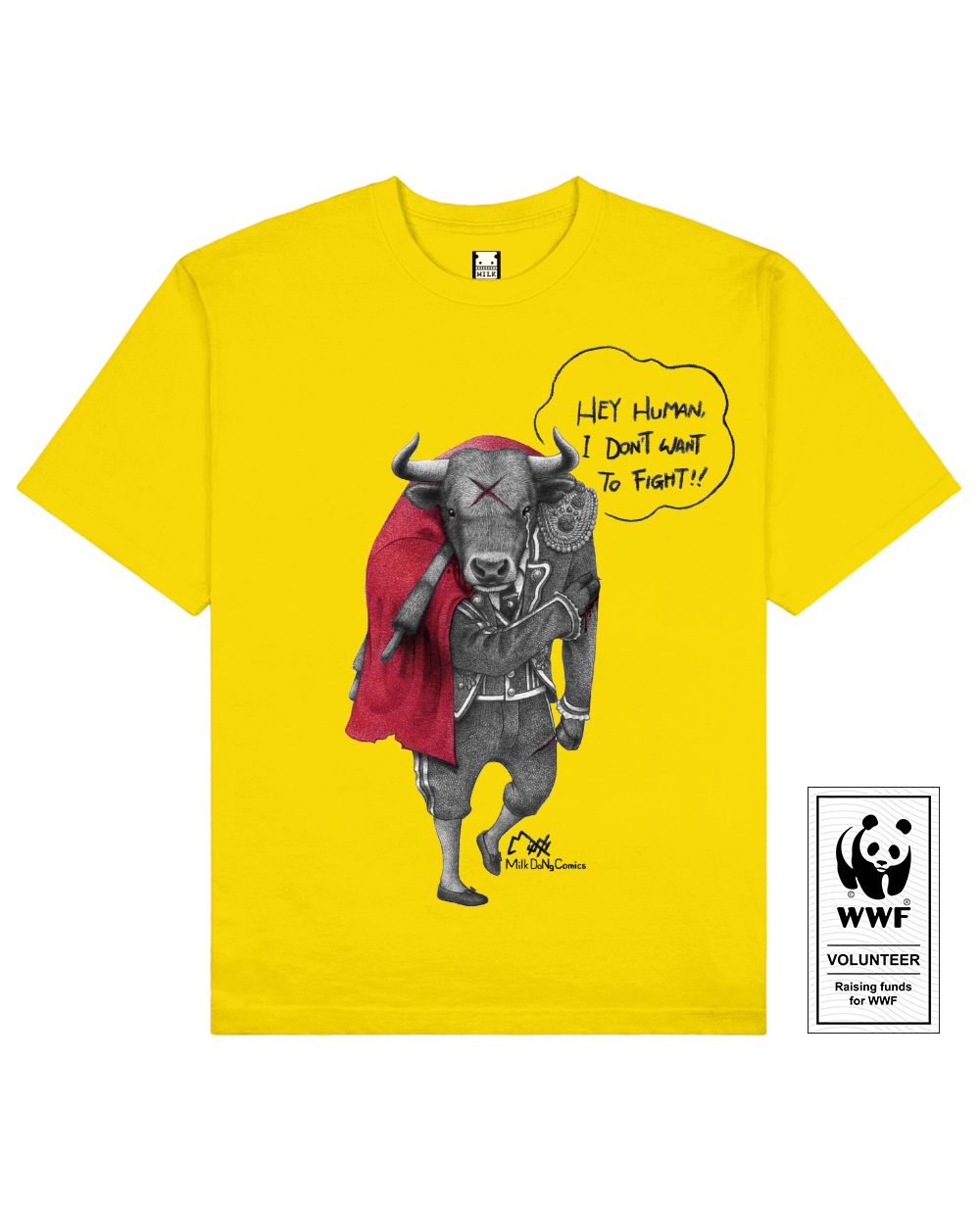 FIGHTING BULL Printed T-Shirt in Yellow - T-Shirts - Milk DoNg Comics - BRANMA