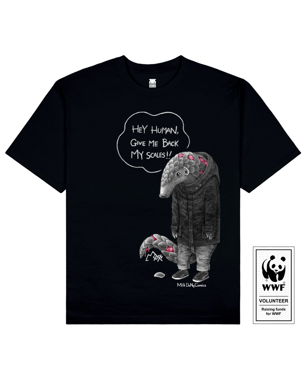 SCALELESS PANGOLIN Printed T-Shirt in Black - T-Shirts - Milk DoNg Comics - BRANMA