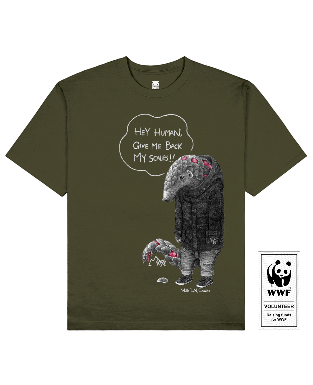 SCALELESS PANGOLIN Printed T-Shirt in Khaki - T-Shirts - Milk DoNg Comics - BRANMA