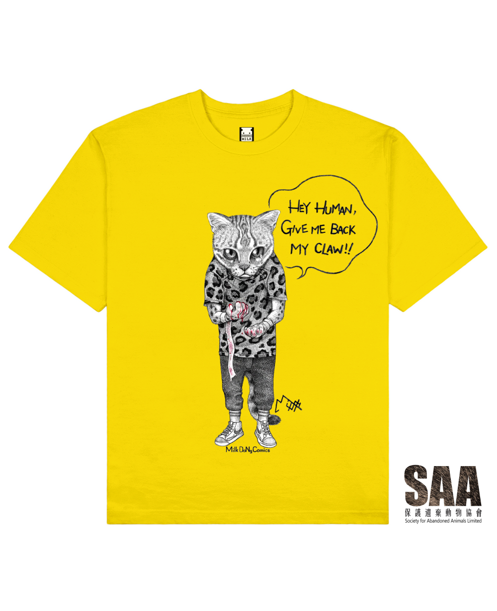 CLAWLESS CAT Printed T-Shirt in Yellow - T-Shirts - Milk DoNg Comics - BRANMA