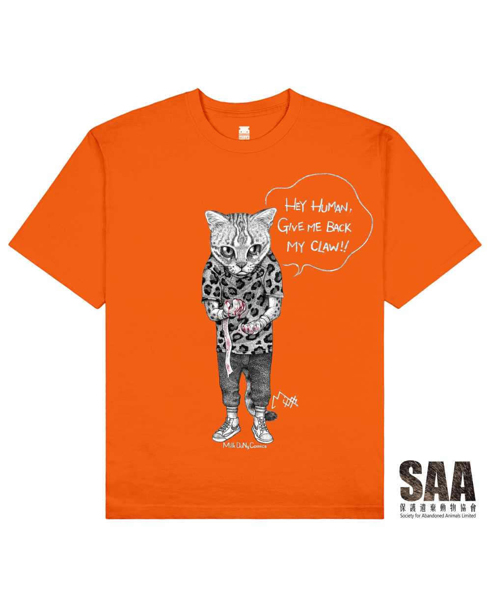 CLAWLESS CAT Printed T-Shirt in Orange - T-Shirts - Milk DoNg Comics - BRANMA