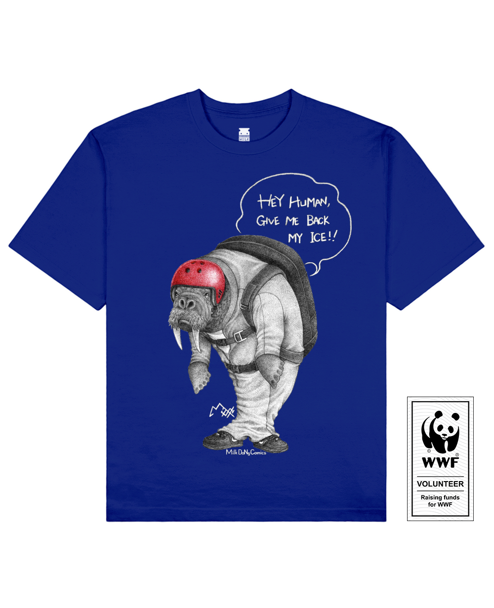 CLIFFJUMPING WALRUS Printed T-Shirt in Blue - T-Shirts - Milk DoNg Comics - BRANMA