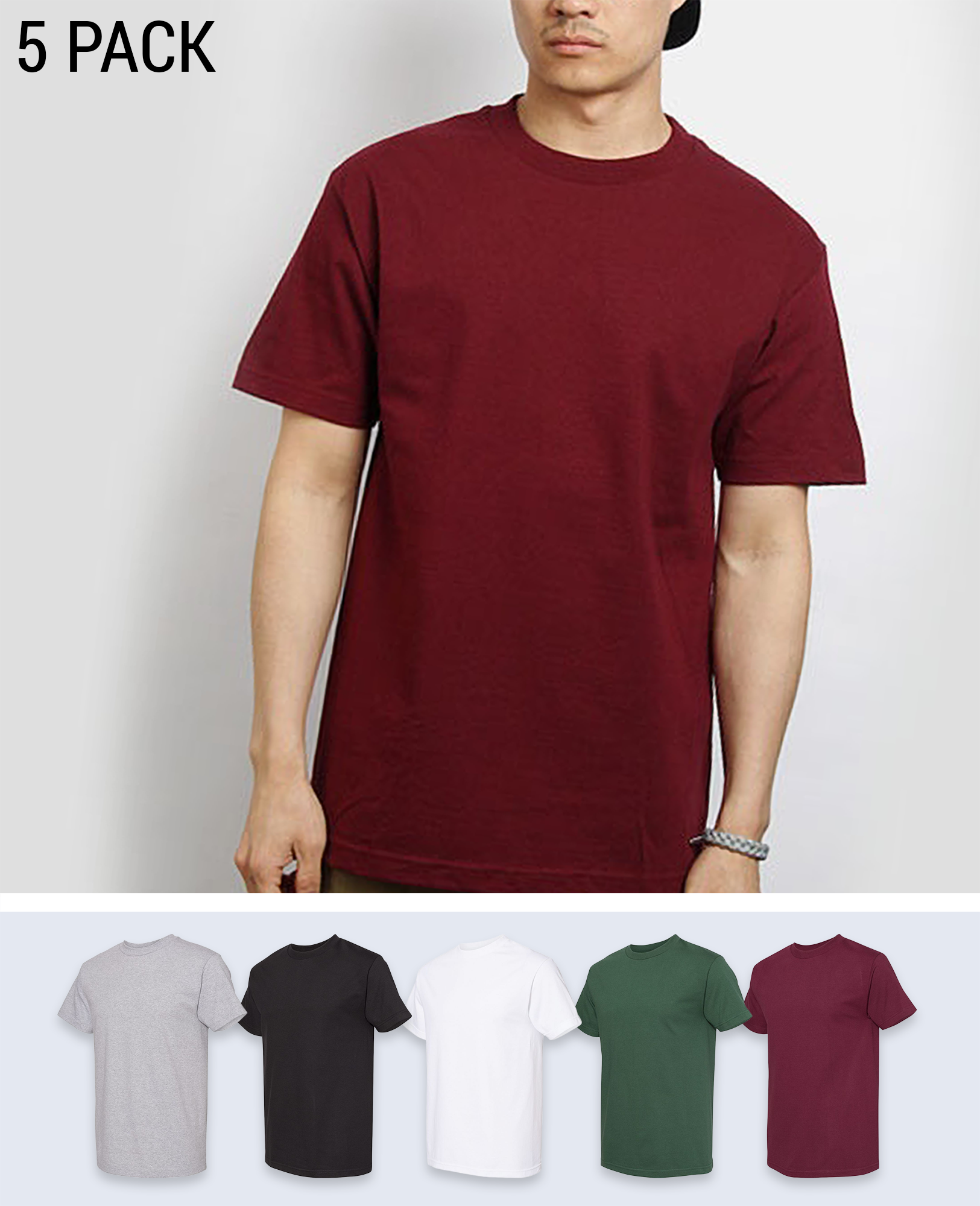 5 pack Cotton T-shirt - T-Shirts - Alstyle (AAA) - BRANMA