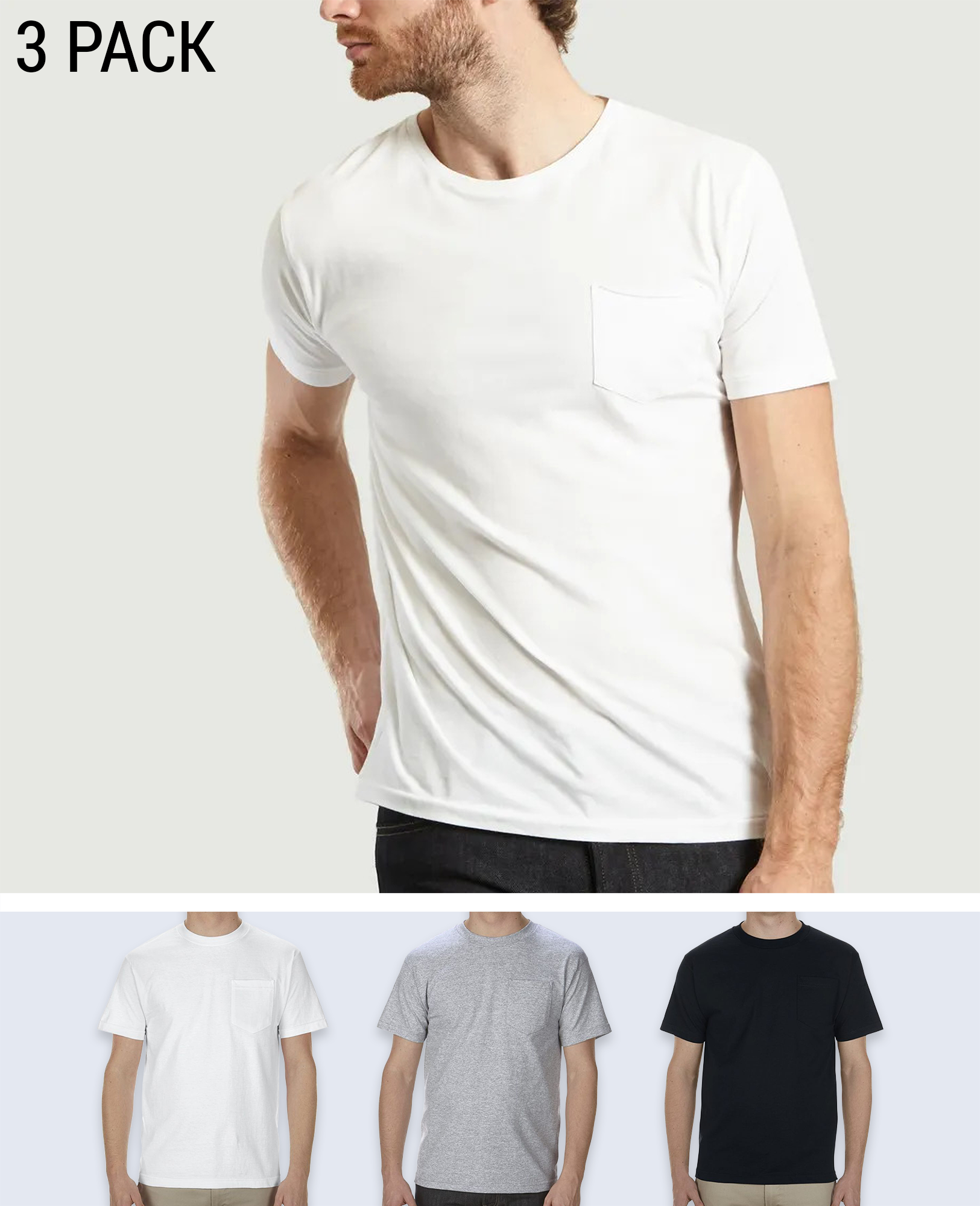 3 pack Pocket T-shirt - T-Shirts - Alstyle (AAA) - BRANMA