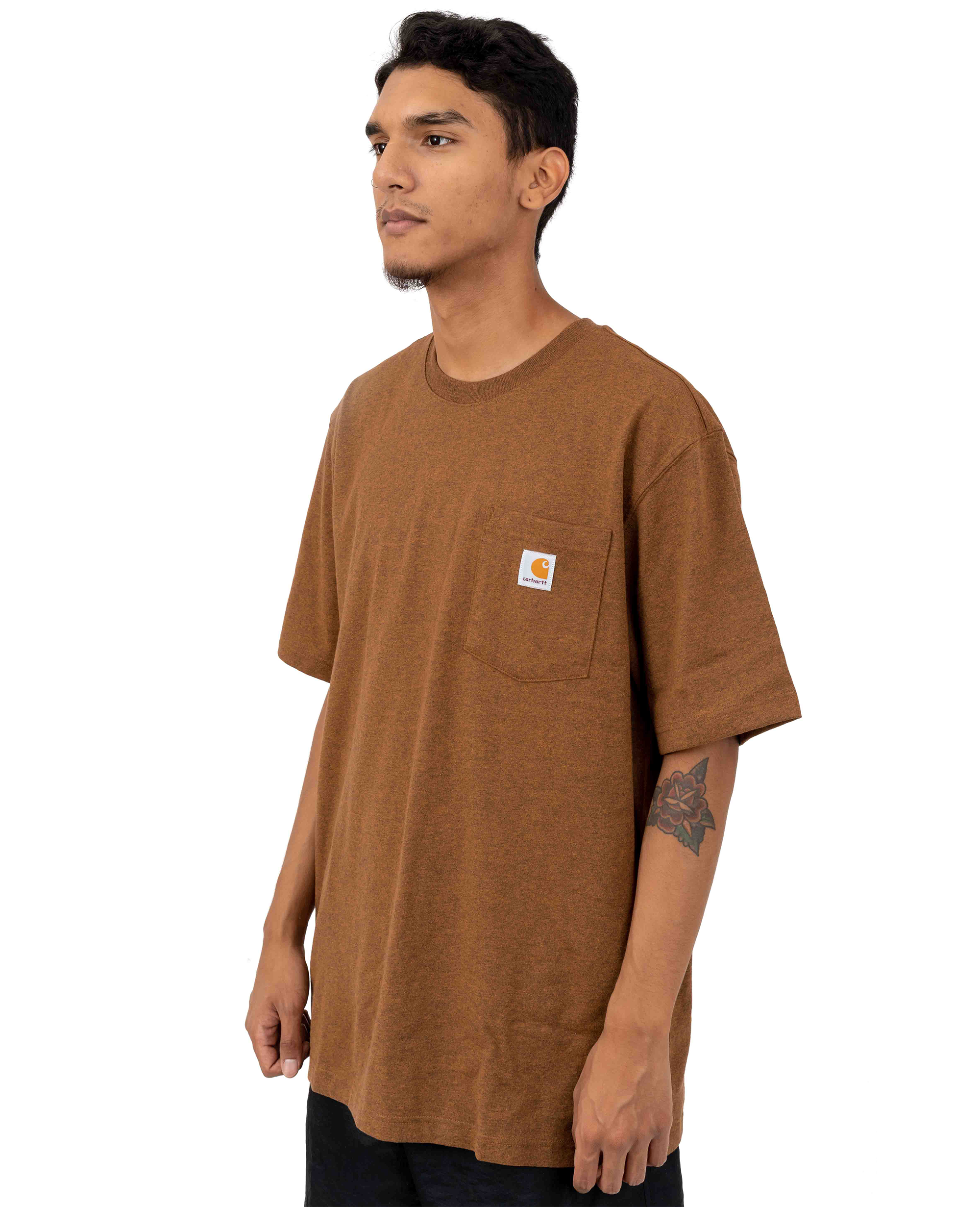 Heavyweight Pocket T-shirt in Oiled Walnut Heather - T-Shirts - Carhartt WIP - BRANMA