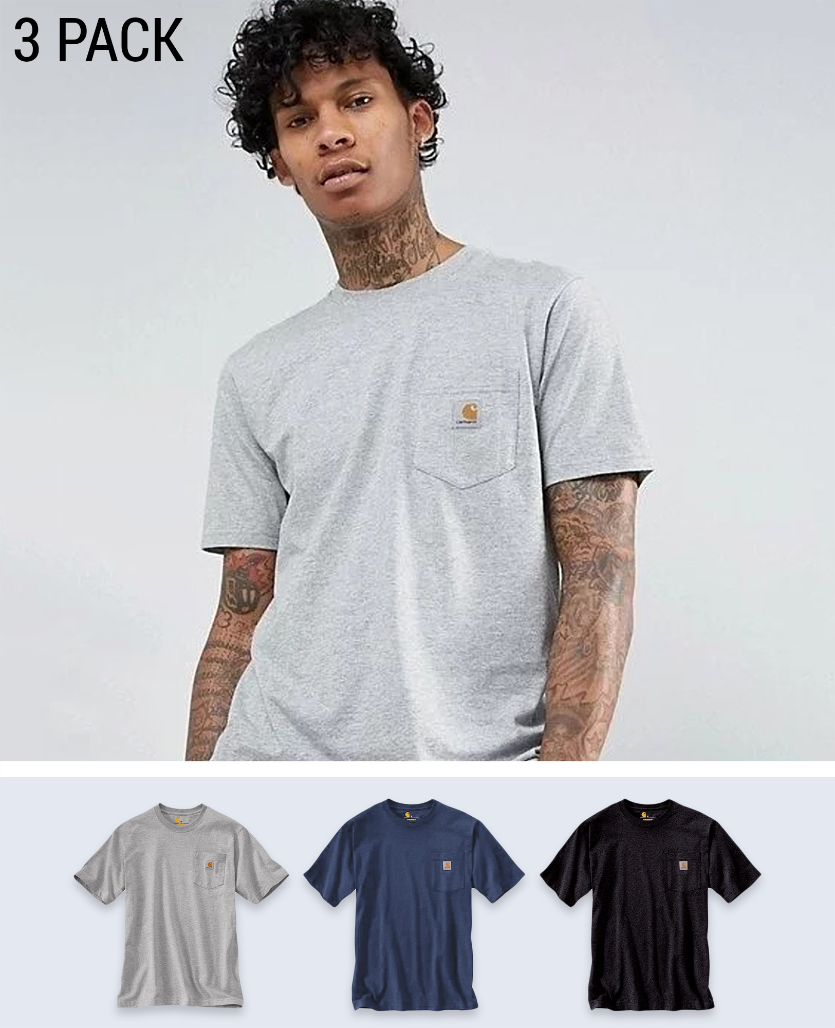 3 pack Heavyweight Pocket T-shirt - T-Shirts - Carhartt WIP - BRANMA