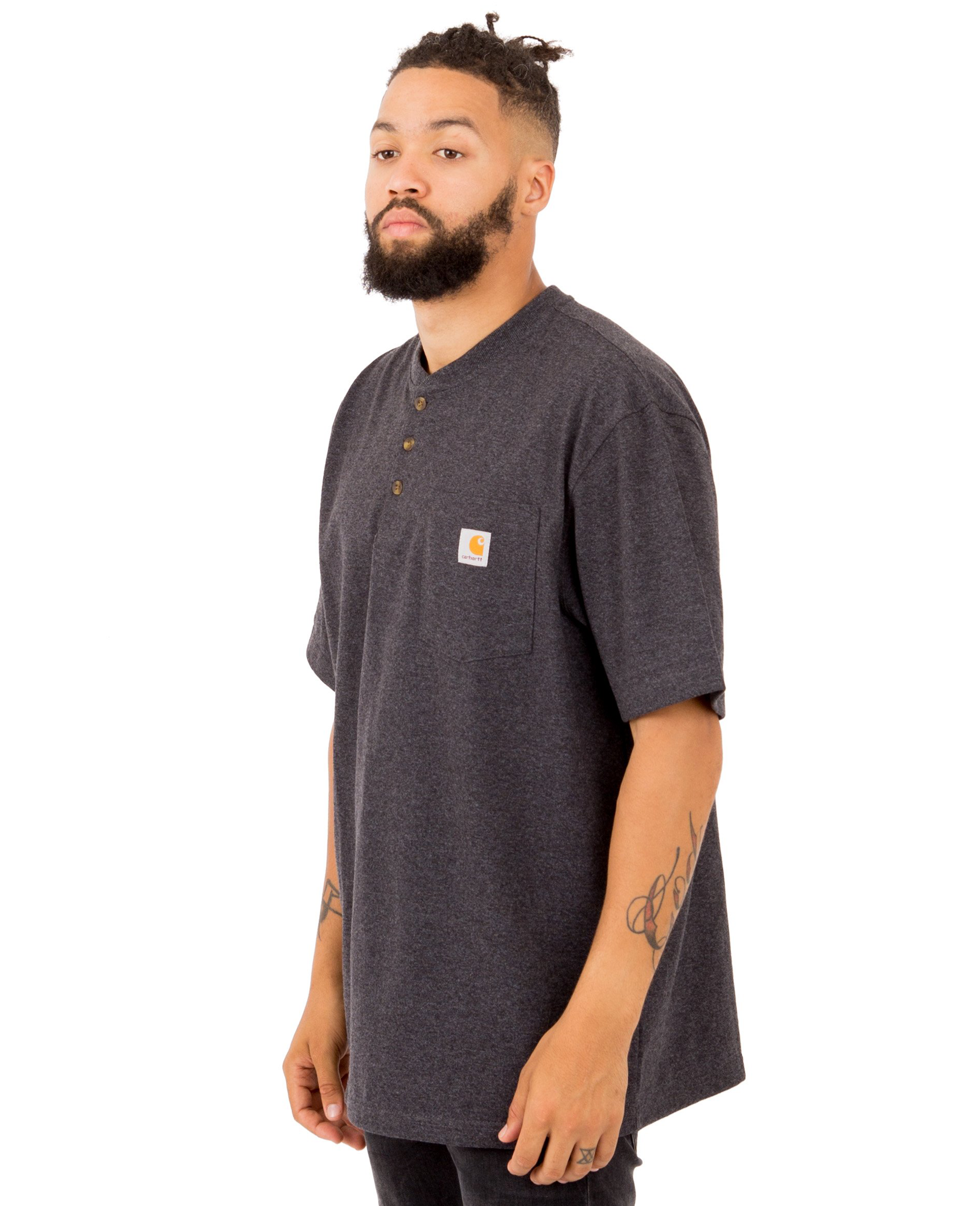 Heavyweight Henley T-shirt in Carbon Heather - T-Shirts - Carhartt WIP - BRANMA