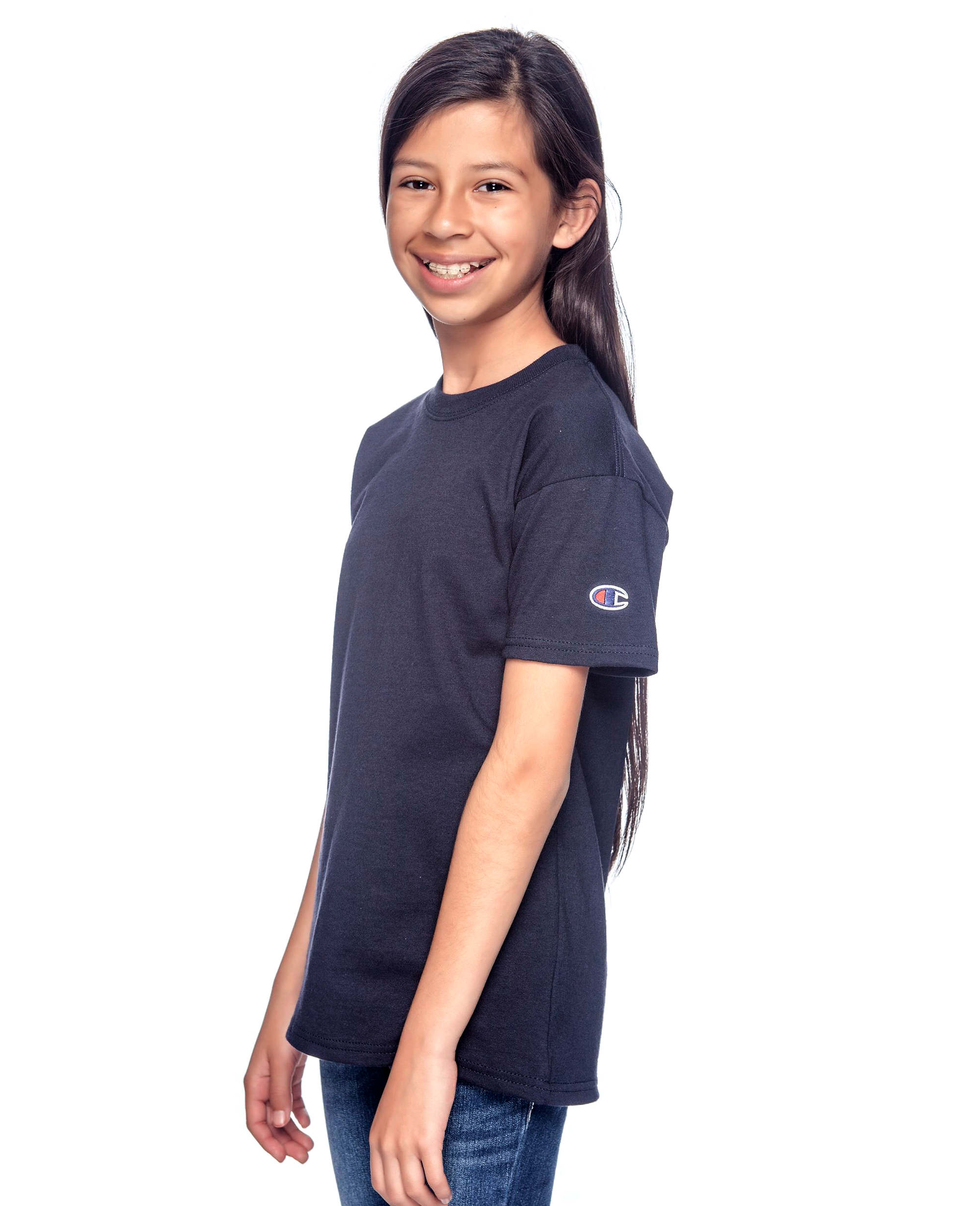 Sleeve Logo Youth's T-shirt  in Navy - T-Shirts - Champion - BRANMA