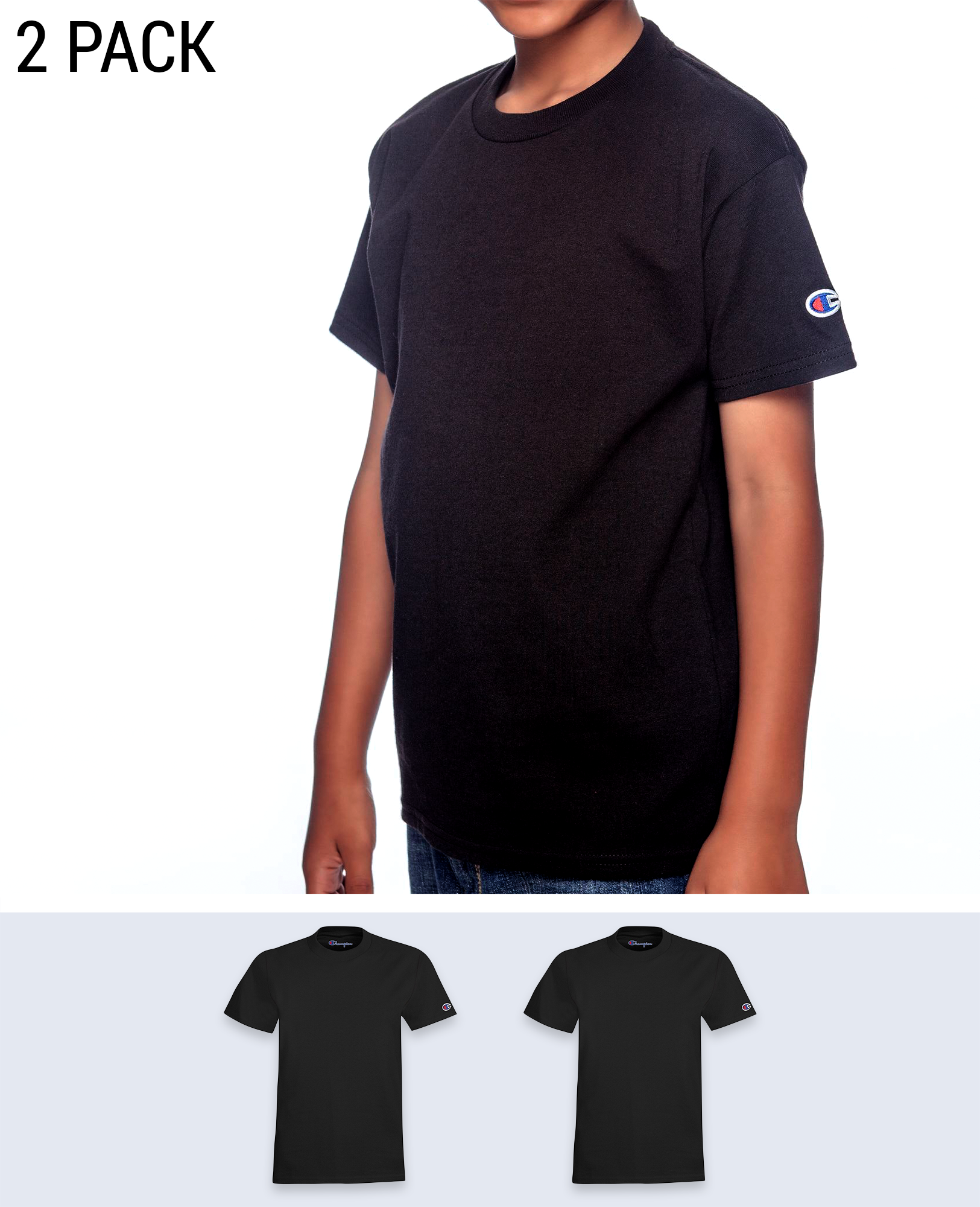 2 pack Sleeve Logo Youth's T-shirt - T-Shirts - Champion - BRANMA