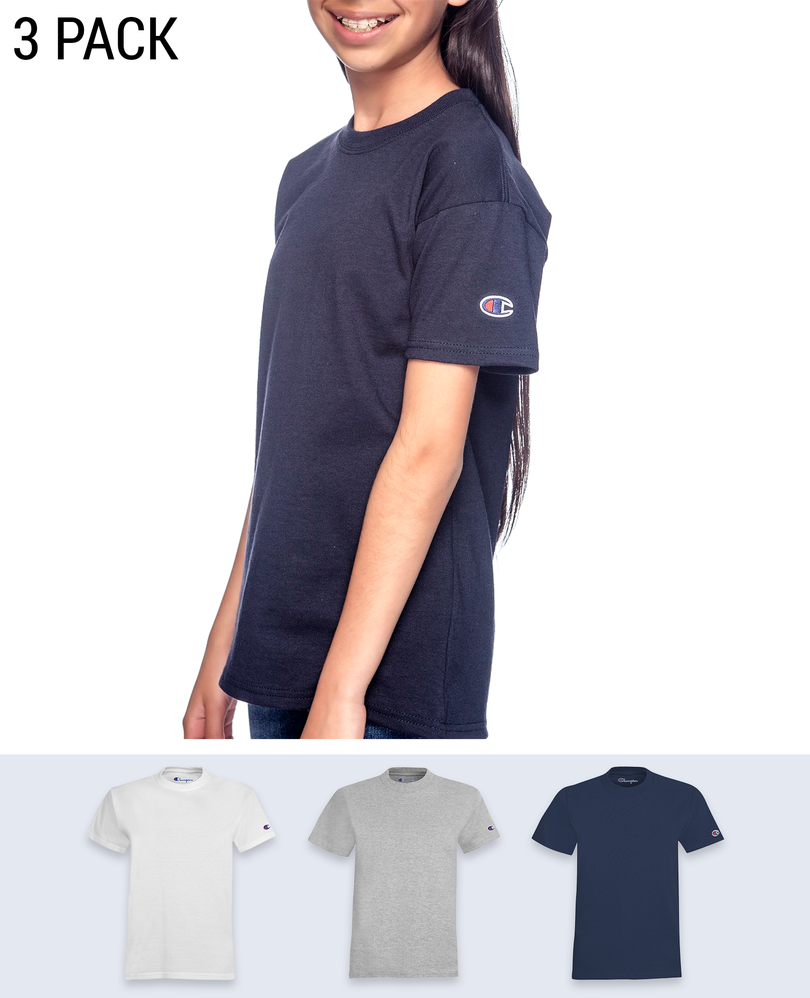 3 pack Sleeve Logo Youth's T-shirt - T-Shirts - Champion - BRANMA