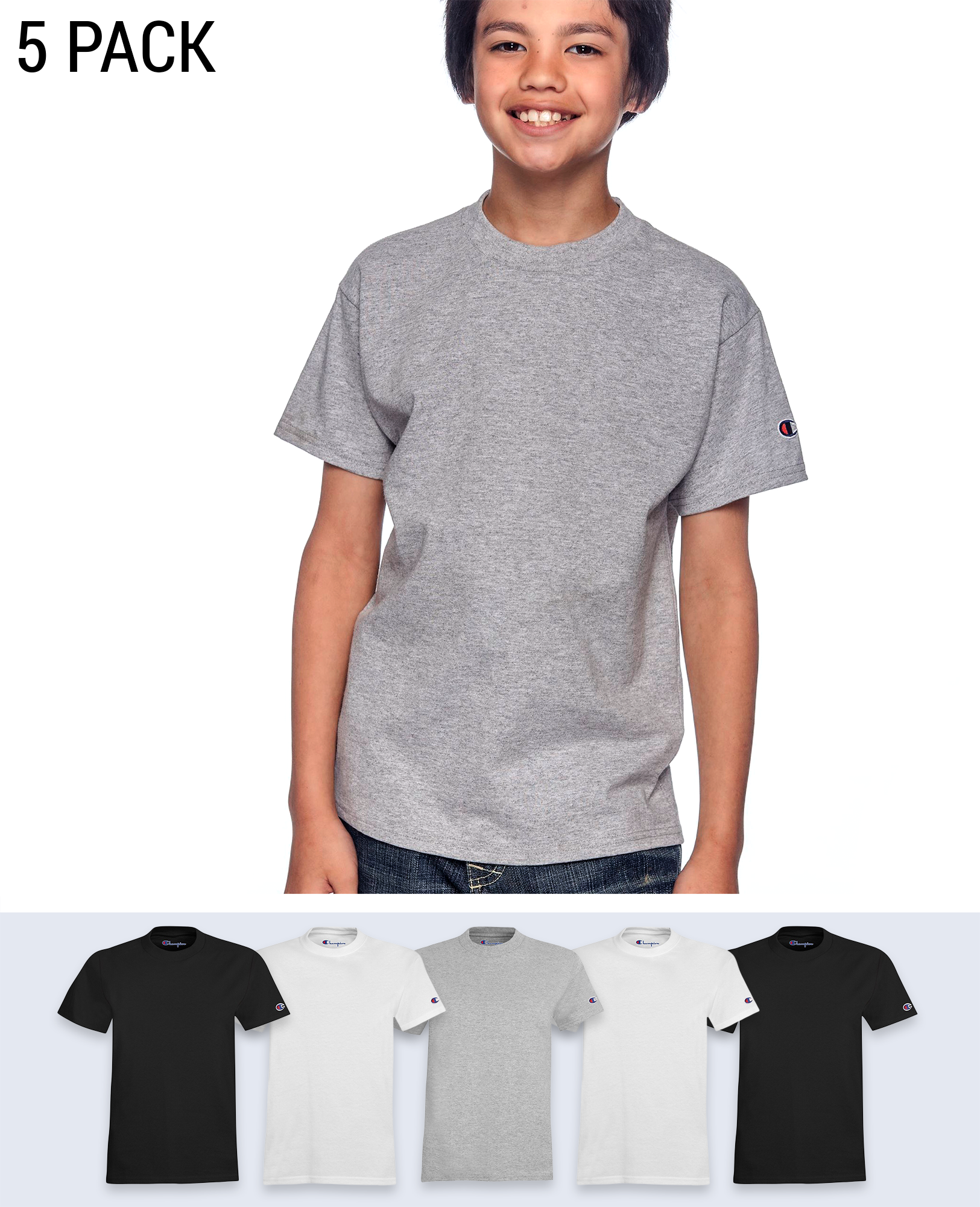 5 pack Sleeve Logo Youth's T-shirt - T-Shirts - Champion - BRANMA