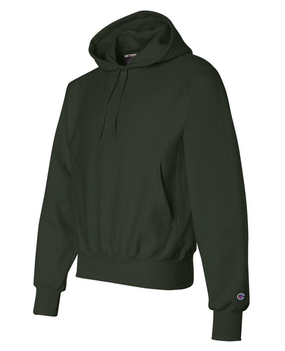 Sleeve Logo Pullover Hoodies in Dark Green