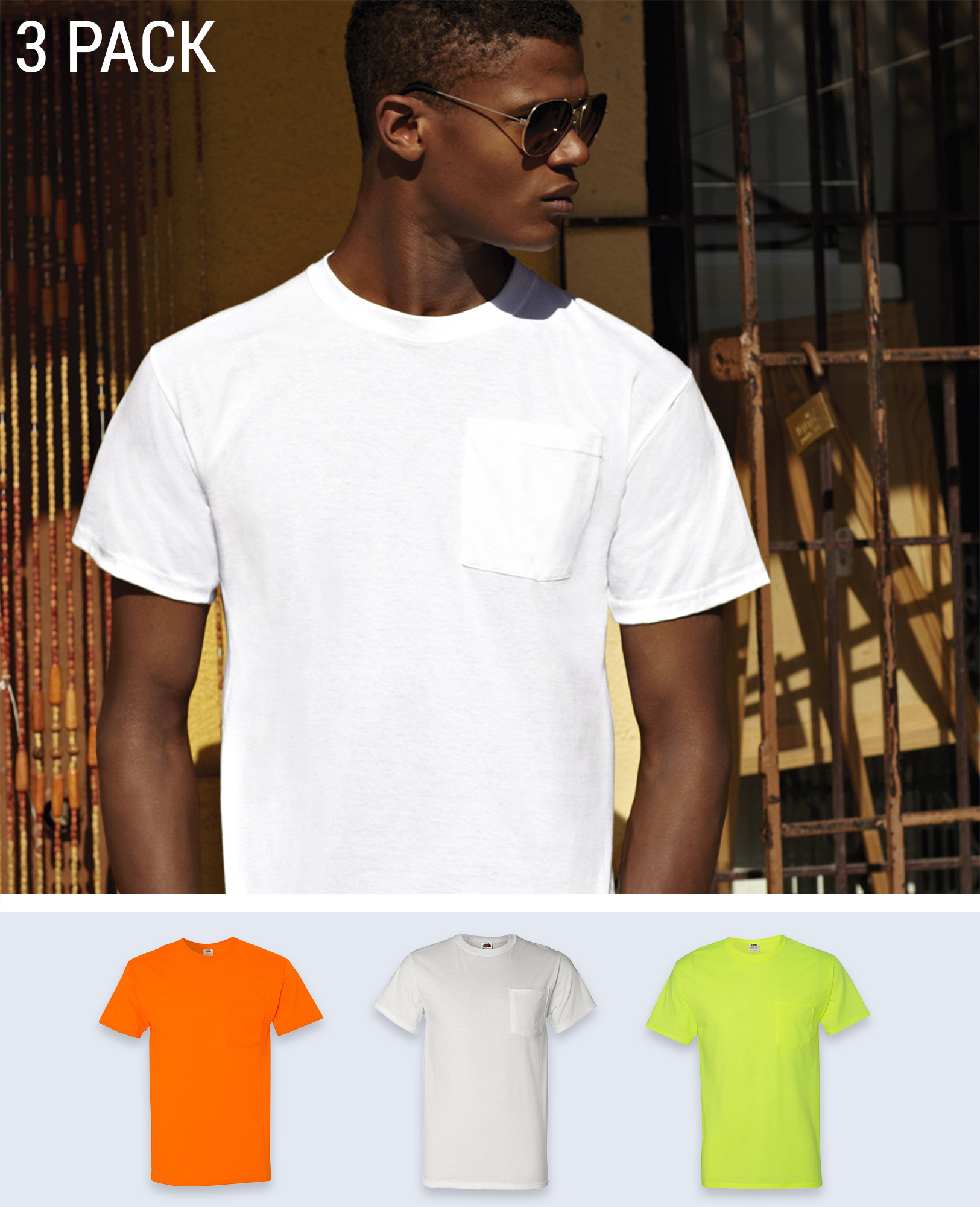 3 pack Pocket T-shirt - T-Shirts - Fruit of the loom - BRANMA