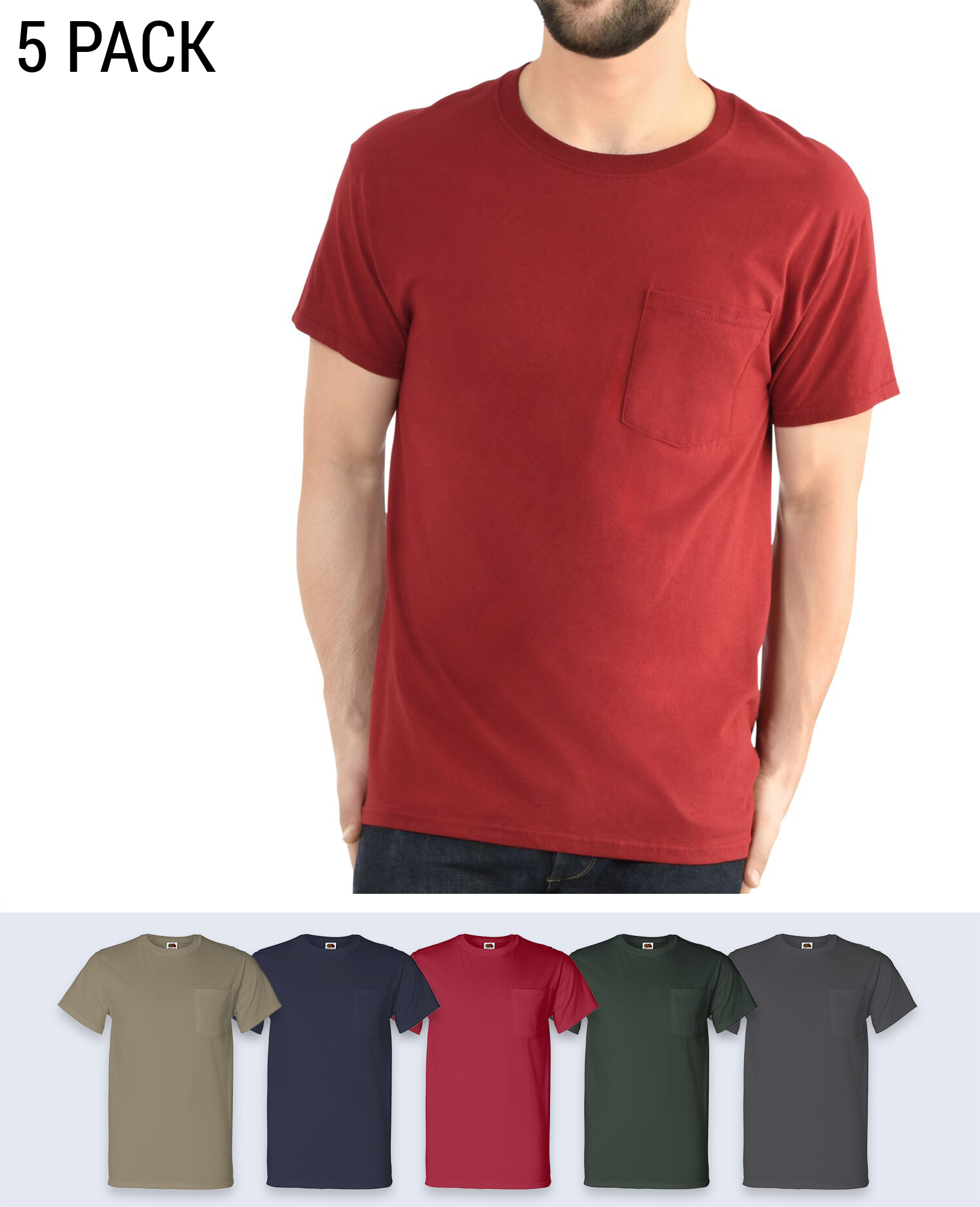5 pack Pocket T-shirt - T-Shirts - Fruit of the loom - BRANMA