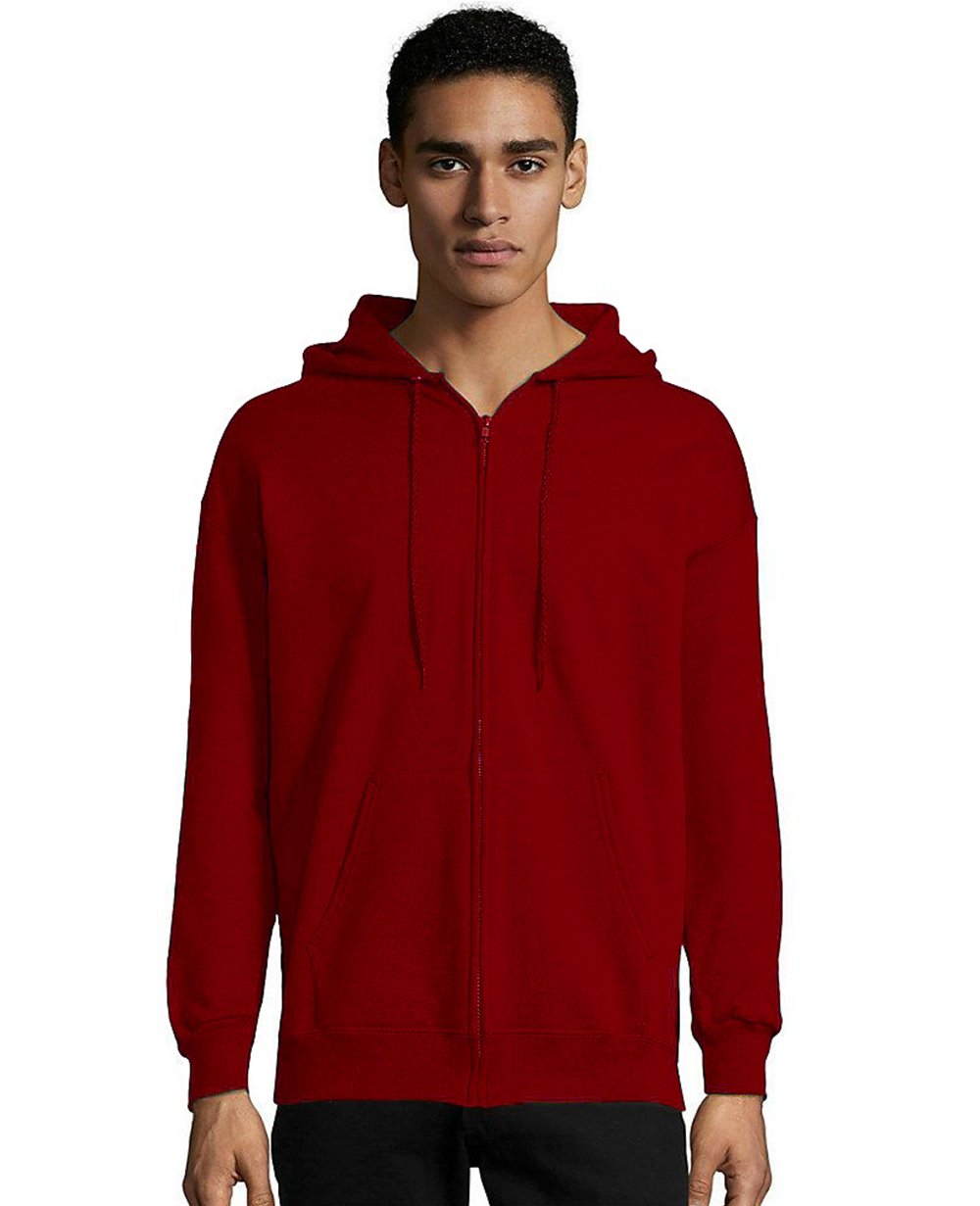 Zip-up Hoodie in Deep Red
