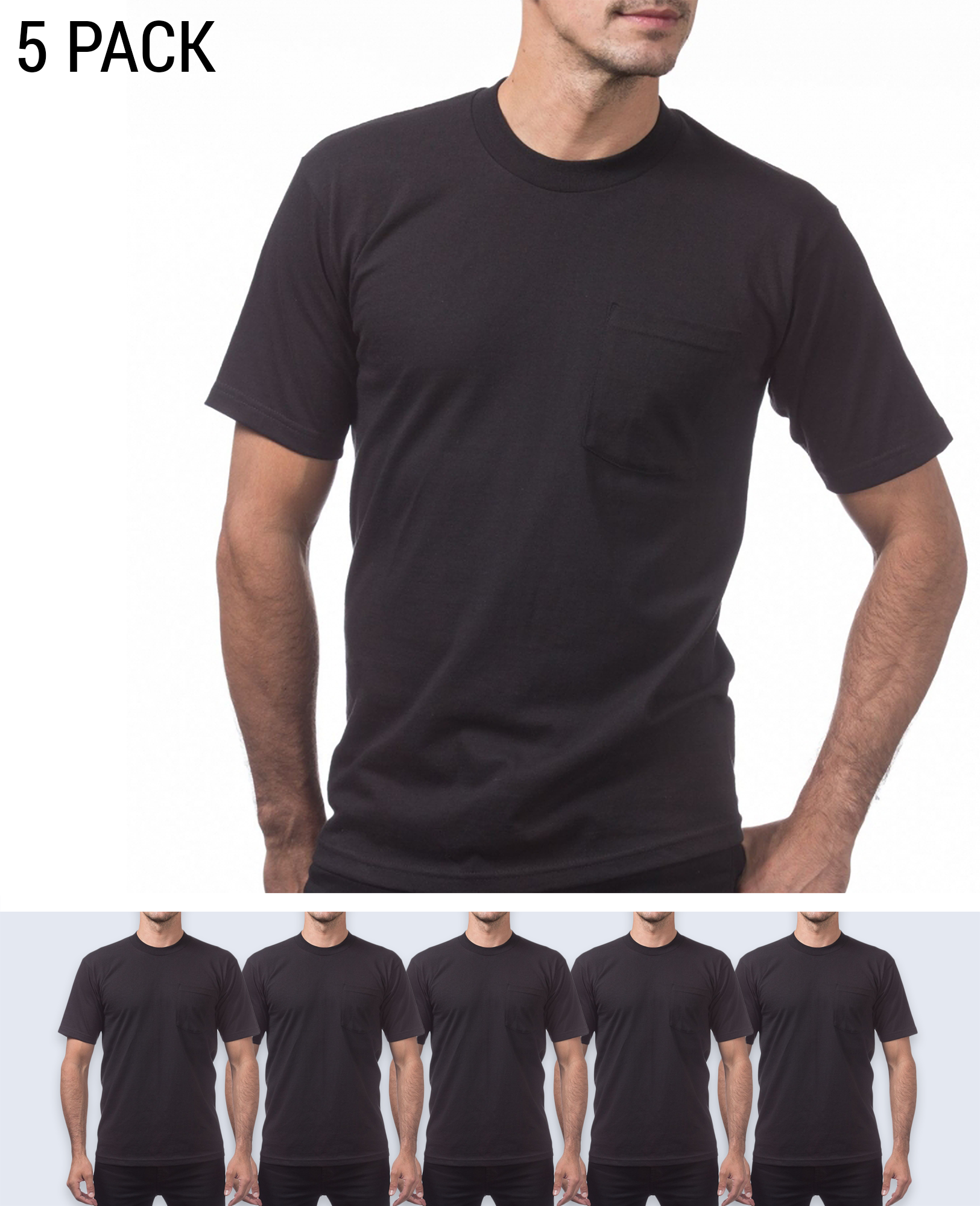 5 pack Heavyweight Pocket T-shirt - T-Shirts - Pro Club - BRANMA