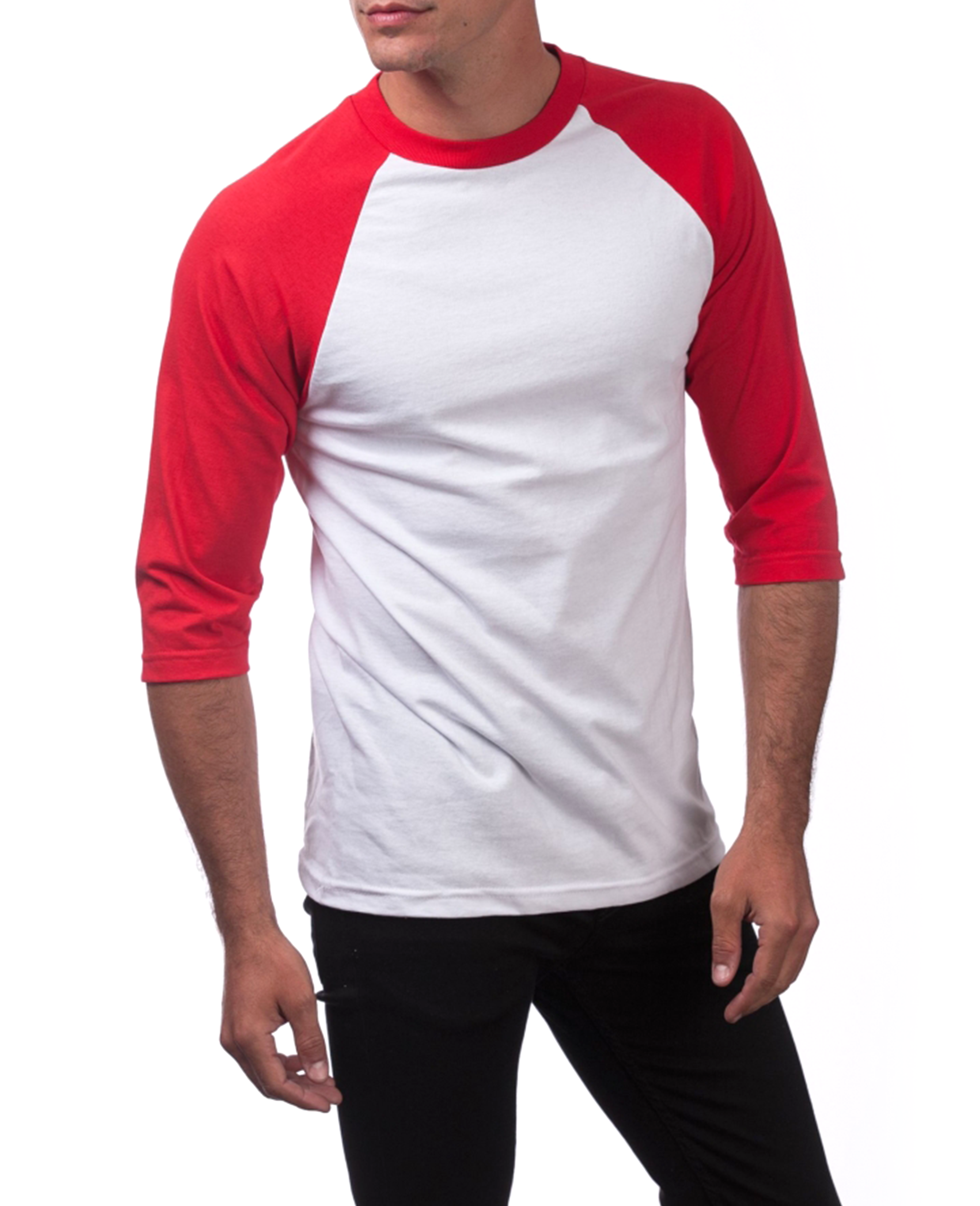 Raglan Baseball T-shirt in White / Red - T-Shirts - Pro Club - BRANMA