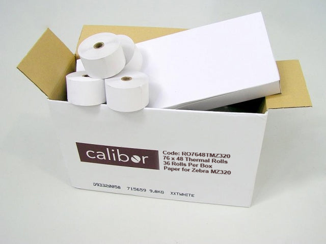CALIBOR THERMAL PAPER 76X48 36 ROLLS/BOX IMZ/MZ320