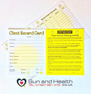 Sunbed Salon Client Record Cards