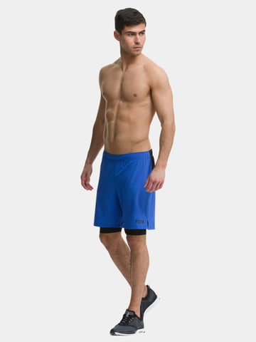 TCA Ultra Men's 2 in 1 Compression Shorts - Cobalt Blue / Black