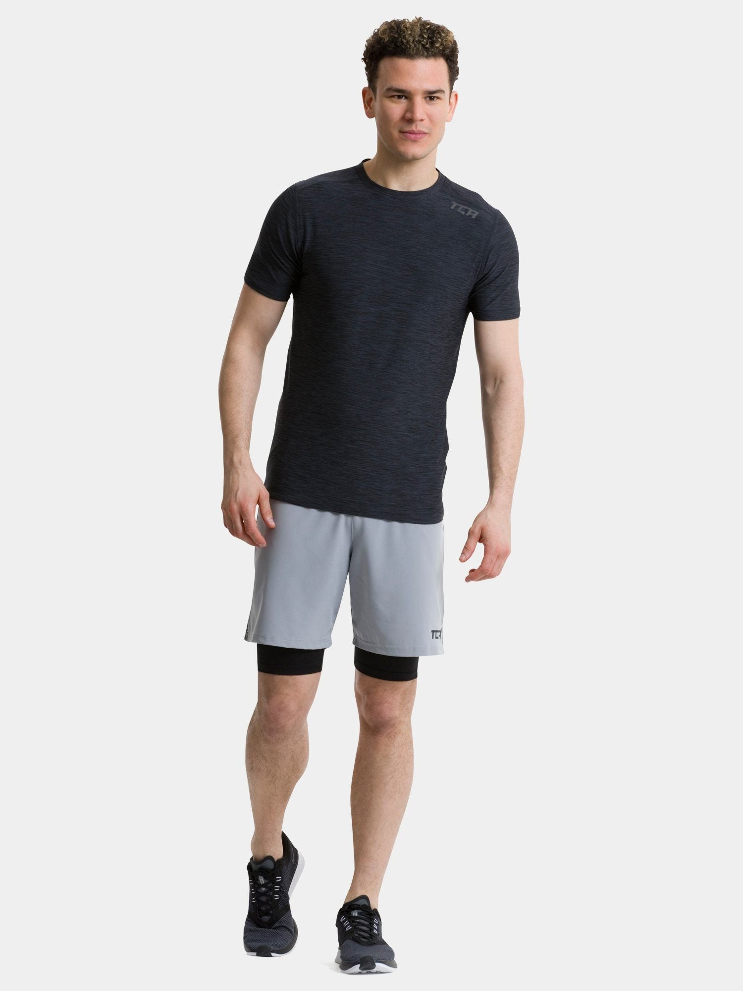 TCA Men's Galaxy Short Sleeve Gym Top - BLack