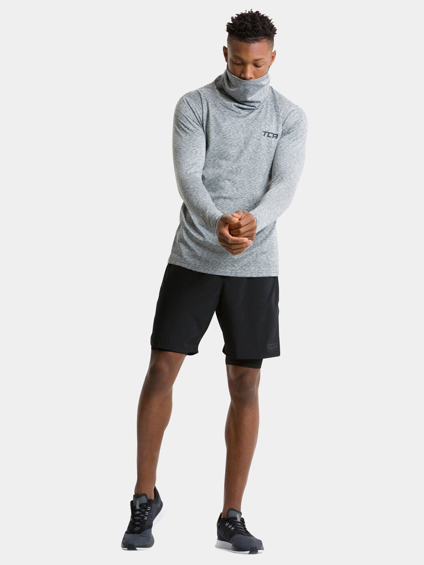 TCA Warm-Up Men's Funnel Neck Long Sleeve - Marl Grey