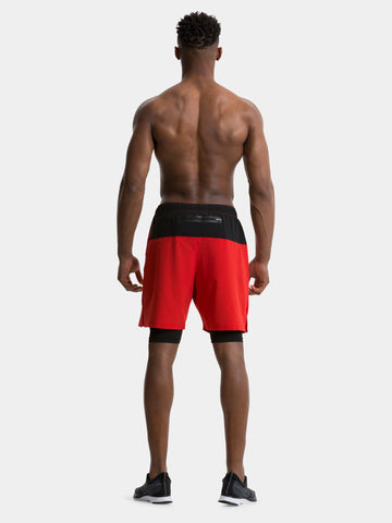 TCA Ultra Men's 2 in 1 Compression Shorts - High Risk Red / Black