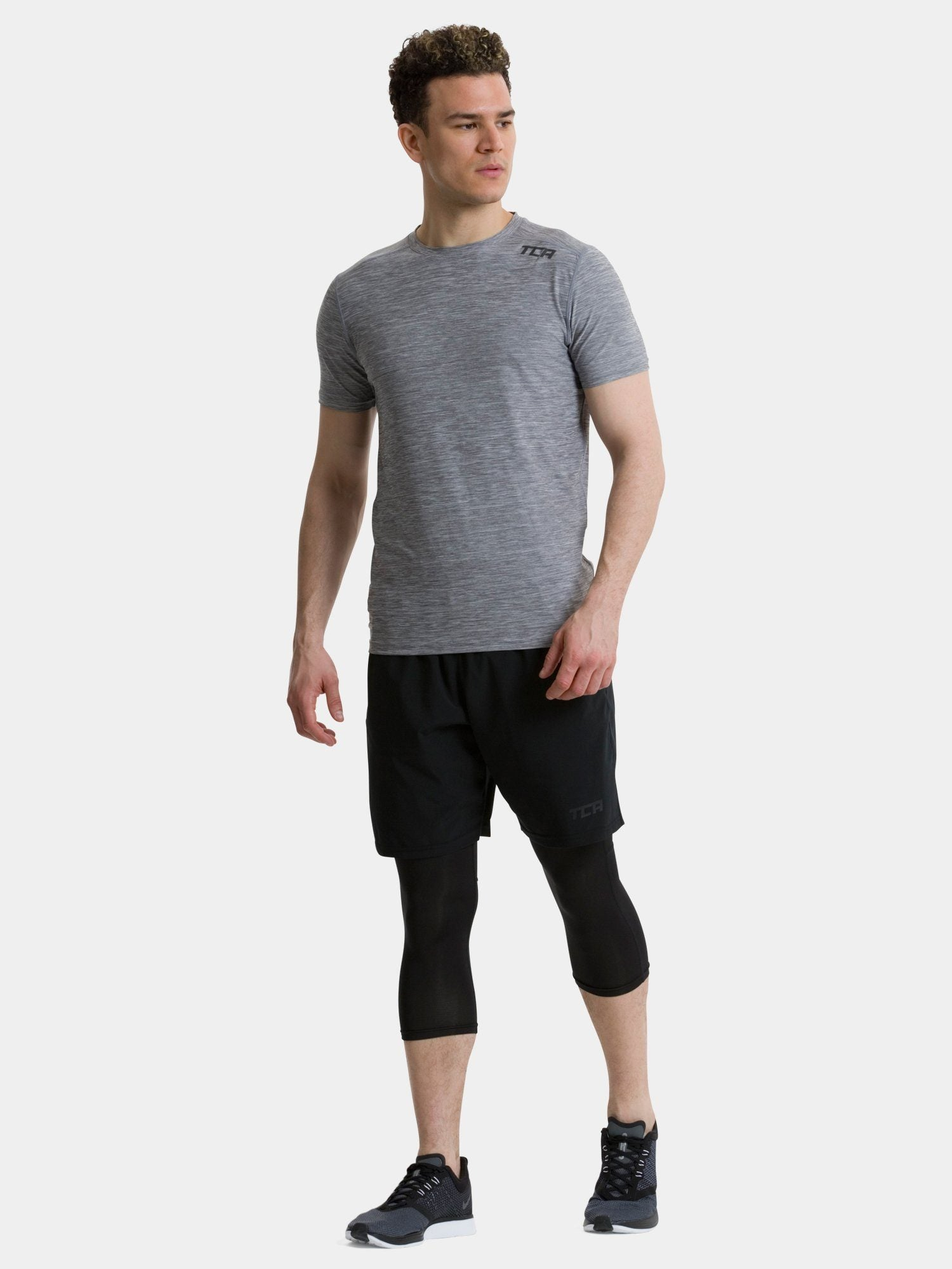 TCA Men's Galaxy Short Sleeve Gym Top - Cool Grey