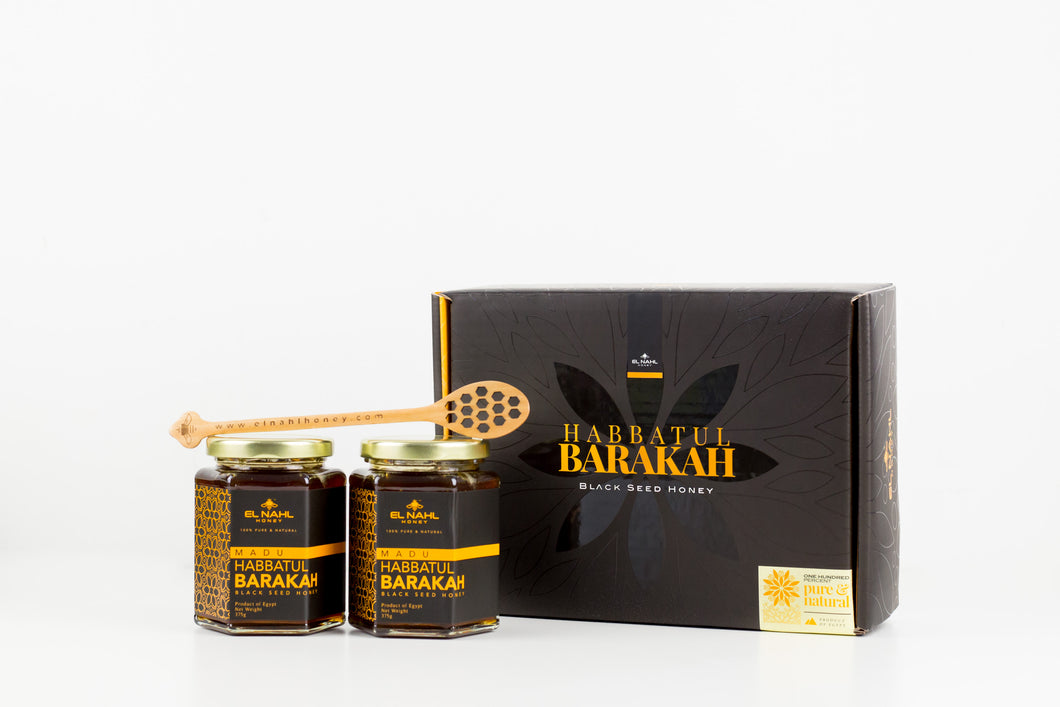 [LAUNCHING SALE] Twin Regular Pack (2x Habbatul Barakah Honey 375g + Free Wooden Spoon) + Free E-book
