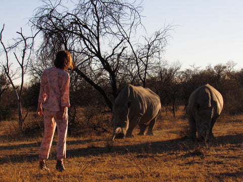 C. St. Quinton pyjamas photographed with rhinos in the Waterberg, South Africa