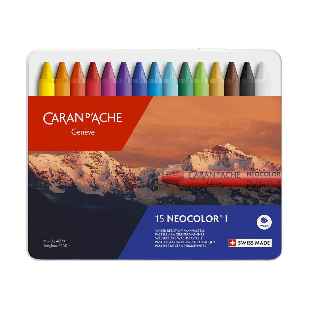 Caran d'Ache Neocolor I Water Resistant Colour Set of 15 Crayons